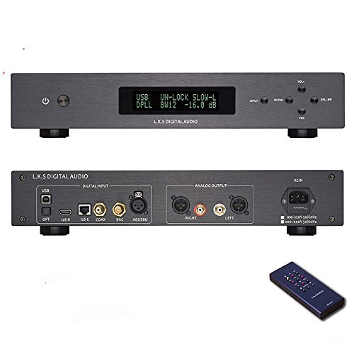 L.K.S Audio MH-DA004 Dual ES9038pro Flagship DAC DSD Input Coaxial BNC AES EBU for DoP USB I2S Optical Audio Decoder (Black Upgraded USB Version)