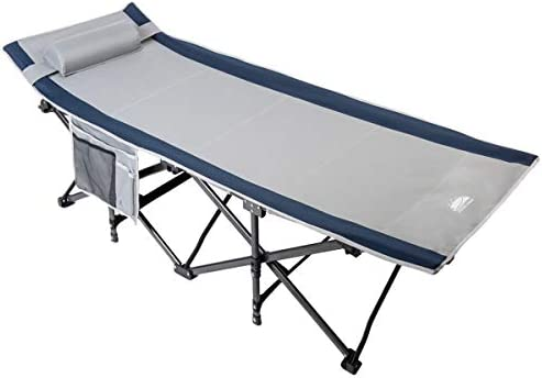 Coastrail Outdoor Folding Camping Cot for Adults with Elevated Headrest, Elastic Straps, Detachable Pillow and Side Storage Organizer, 400lbs Weight Capacity, Carry Bag Included