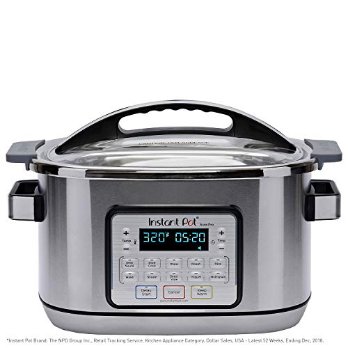 Instant Pot Aura Pro 11-in-1 Multicooker, Slow Cooker, Rice Cooker, Grain Maker, Steamer, Saute, Yogurt Maker, Stew, Bake, Roast, and Warmer, 8 Quart, 11 One-Touch Programs