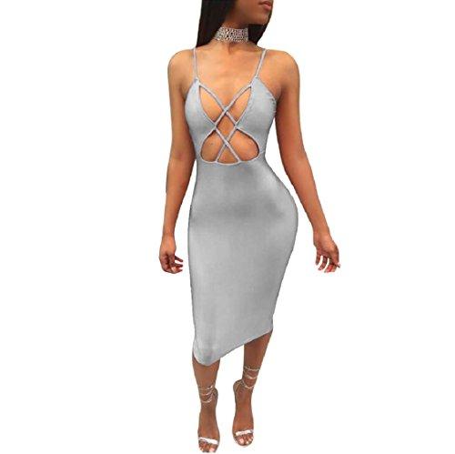 Coolred-femmes Creusent Clubwear Gris Robe De Cocktail Fronde Dos Nu Sexy Croix