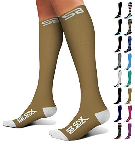 SB SOX Compression Socks (20-30mmHg) for Men & Women - Best Stockings for Running, Medical, Athletic, Edema, Diabetic, Varicose Veins, Travel, Pregnancy, Shin Splints (Nude/White, Small)