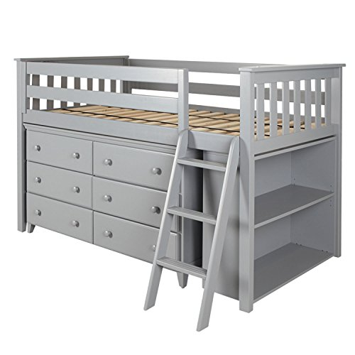 Max & Lily Solid Wood Storage Loft Bed with Dresser and Bookcase, Twin, (Free Time 6 Drawer Dresser)
