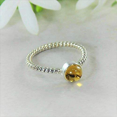 Sivalya NOVA Natural Citrine Gemstone Ring in 925 Sterling Silver - Twisted Rope Pattern Solid Silver Band Ring for Women - Size -