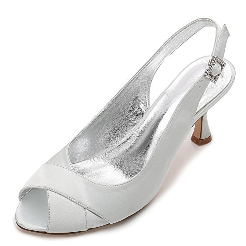 Bajo Honor Shoes Court Nupcial P17061 Tacón Silver Toe Las 3 yc Moda Dama De Peep Party Satinado Jane Style Mujeres L Boda Zapatos 16 8 RwC1q7AxU