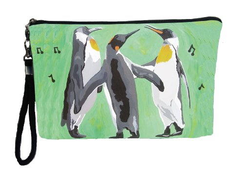 Wildlife Trio - Penguin Large Vegan Wristlet, Pencil Bag, Cosmetic Bag - From My Original Painting, The Trio- Support Wildlife Conservation, Read How