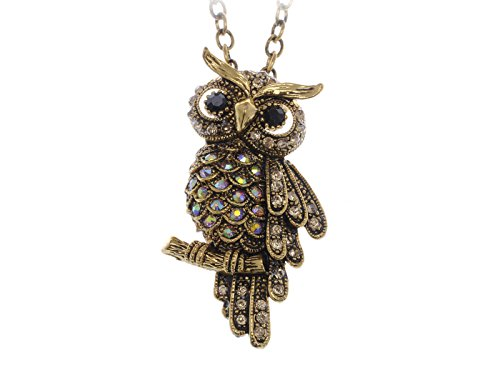 Alilang Cute Antique Inspired Golden Tone Owl Bird Topaz Color Crystal Animal Pendant Necklace