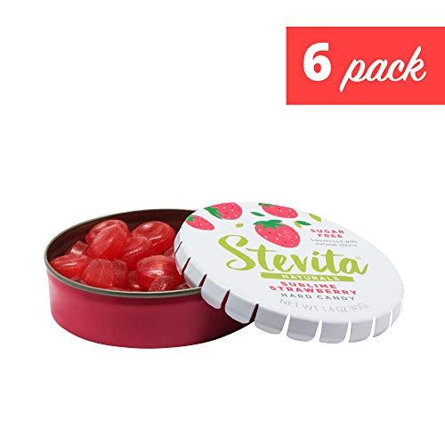 Stevita Stevia Sweet Candy Natural Strawberry Flavor (6 Pack) - 1.4 Ounces - Sugar Free Hard Candy, Stevia Sweetened - USDA Organic, Non GMO, Kosher, Keto, Paleo, Gluten-Free - 156 Servings