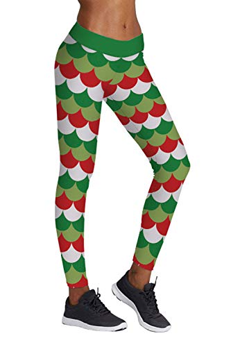 Pink Queen Womens Novelty Christmas Mermaid Fish Scale Leggings Tights For Santa Party, US L-XL, Christmas Pattern -