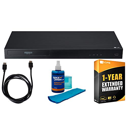 LG UBK90 Streaming 4k UHD Blu-Ray Player w/Dolby Vision + 6ft High Speed HDMI Cable (Black) + Universal Screen Cleaner (Large Bottle) for LED TVs + 1 Year Extended Warranty