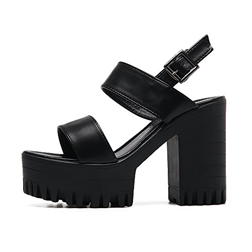 Shoes With High Sandals Waterproof Female The Thick New Thick Of Version Black Strap Summer Slotted Taiwan Women Heels HGTYU Korean Black Comfortable The And Versatile F47q78Z