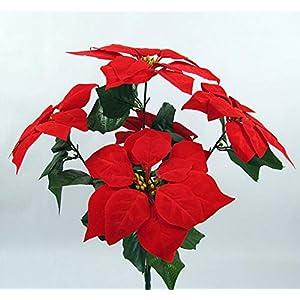 C&L Artificial Flowers 7 Heads Christmas Decor Poinsettia Holiday Decor Bonsai Art Ornaments 111
