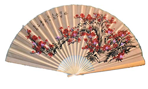 Large 60 X 35 Tannish Gold Color Fan with Red & Fuchsia Cherry Blossom Flowers on a Branch Hand Painted Oriental Hanging Wall Fan