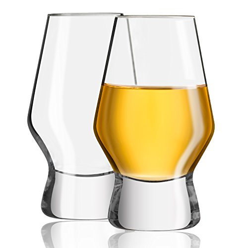 JoyJolt Halo Crystal Whiskey Glasses, Set of 2. Perfect Whisky Glass or Scotch Glasses 7.8 ounce
