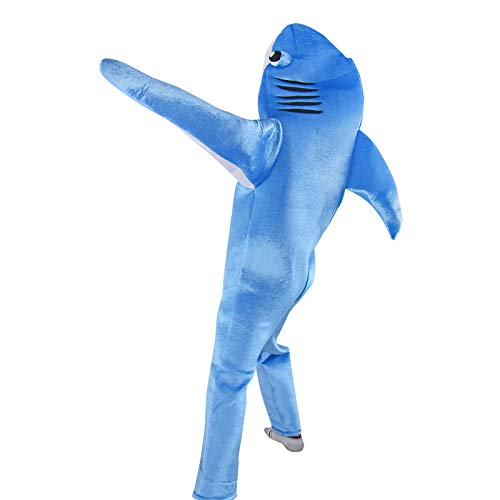 Sea Shark Costume Unisex Attack Animals Cosplay Fancy Dress Halloween Funny Mascot Outfit (Blue Shark, Kid-L)