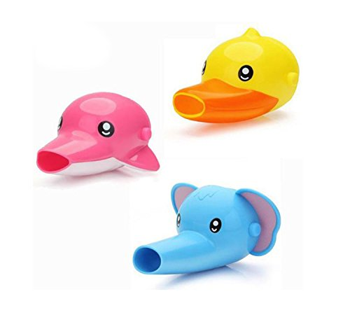AVIRGO Silicone Faucet Extender Taps Extender Bath Taps Extender Basin Cartoon Shape for Children Toddler Kids Hand Washing Yellow Duck Blue Elephant and Pink Dolphin Set of 3 Pcs by Avirgo