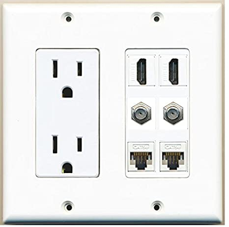 RiteAV Power Outlet 2 HDMI 2 Coax Cable TV 2 Cat5e Ethernet Wall Plate