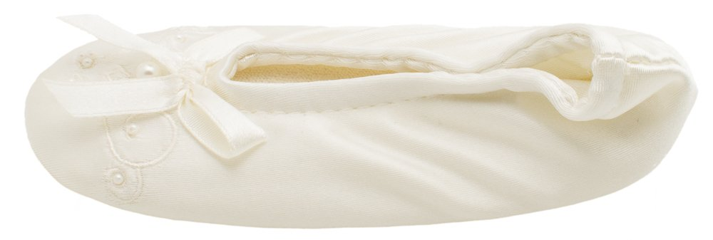 Isotoner Satin Pearl Ballerina Girl's Slippers Ivory Small 11-12 by ISOTONER (Image #3)