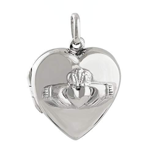 Claddagh Heart Locket - 925 Sterling Silver - Love Loyalty Photo Friendship - Jewelry Accessories Key Chain Bracelets Crafting Bracelet Necklace Pendants ()