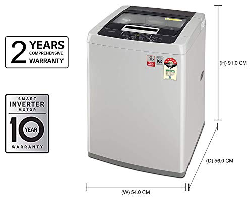 LG 7 kg 5 Star Inverter Fully-Automatic Top Loading Washing Machine (T70SKSF1Z, Middle Free Silver, TurboDrum) 2021 August Fully-automatic top load washing machine: Affordable with great wash quality, Easy to use 5 Star Energy Rated Model : Best in class efficiency Capacity 7.0 Kg : Suitable for families with 3 to 4 members
