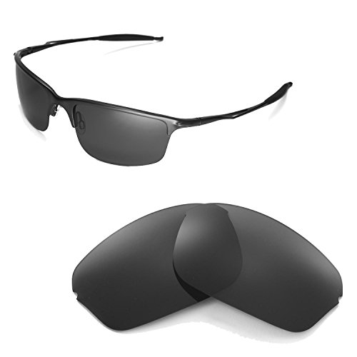 Walleva Polarized Black Replacement Lenses for Oakley Half Wire 2.0 - Replacement Lenses Oakley A Wire