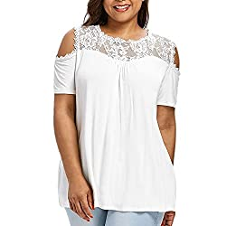 Sunmoot Clearance Sale Plus Size T Shirt For Womens Sexy Lace Patchwork Cross V Neck Hollow Out Cold Shoulder Strapless Short Sleeve Ruffles Summer Casual Loose Tops Blouse