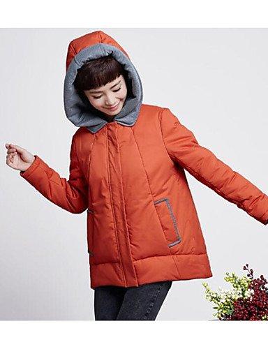poliéster naranja liso algodón mujer amp; larga manga ShangYi relleno de Casual Simple Abrigo TT vzq8Oq