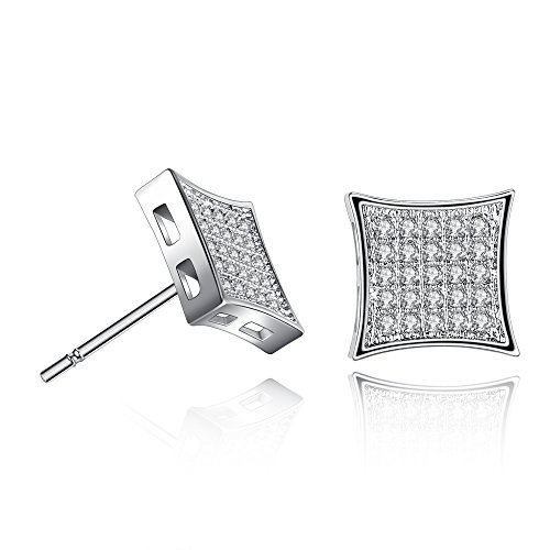 White Gold-Plated Square 5x5 Micropave Stud Earrings (White Gold)