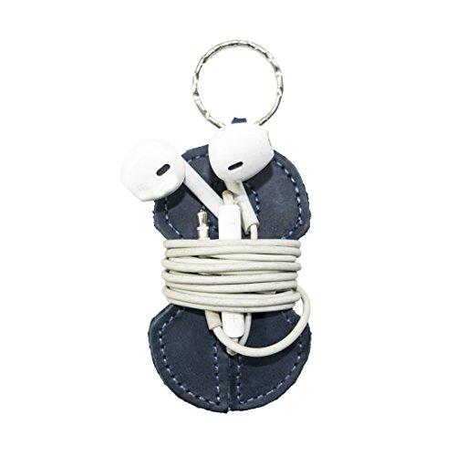 Leather Key Chain & Headphone Wrap Handmade by Hide & Drink :: Slate Blue by Hide & Drink