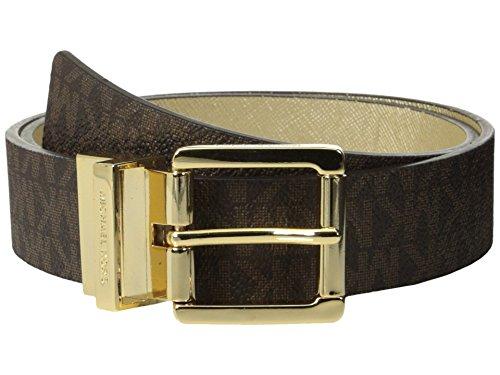 Michael Kors Reversible Logo PVC Leather Belt (M, Brown) - Michael Kors Brown Belt