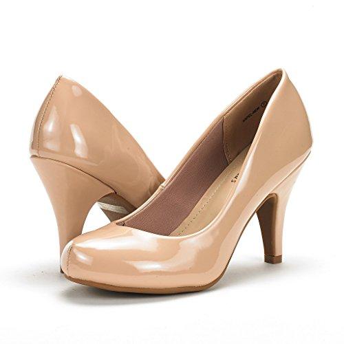 Dream Pairs Arpel / Berry Para Mujer Evening Dance Rhinestones Classic Low Heel Pumps Zapatos New Arpel-nude Pat