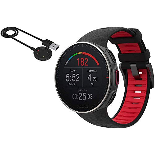 Polar Vantage V Titan Multi Sport GPS Watch Without Heart Rate - Black/Red and USB Charging Cable
