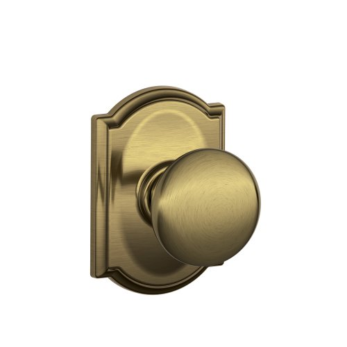 Schlage F10 PLY 609 CAM Camelot Collection Plymouth Passage Knob, Antique Brass