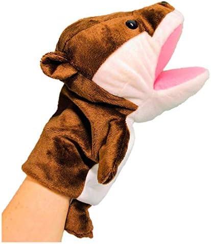ぬいぐるみ カワウソ ハンドパペット かわうそ 指人形 遊べる おもちゃ 指の運動 リハビリ 脳トレ 高さ28cm