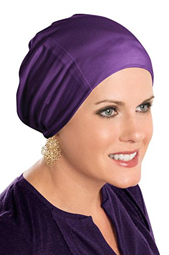 Cardani Cozy Cap Slouch Hat | Slouchy Cancer Beanie Hats Luxury Bamboo - Plum Slouch Hat Cap