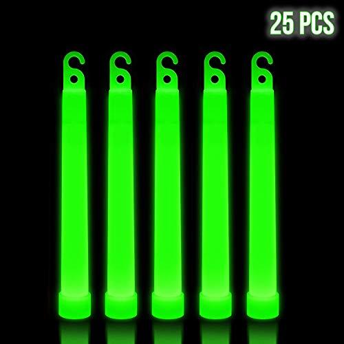 Lumistick 6 Inch Premium Glow Sticks | 15mm Thick Flat Bottom Illuminating Emergency Sticks | Kids Safe, Waterproof & Non-Toxic Light Up Neon Sticks for Camping & Hiking (Green, 25 Glow Sticks)]()