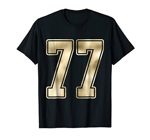 #77 Gold Outline Number 77 Sports Fan Jersey Style T-Shirt -