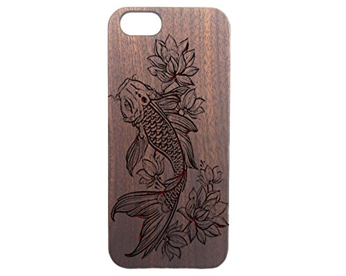 Koi Fish, iPhone 6 and iPhone 6s, Laser Engraved Genuine Wood Case (6/6s - Walnut) (Iphone 6 Cases Koi Fish)