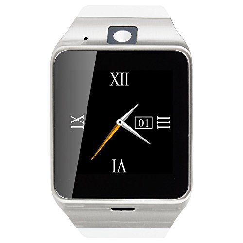 Geelyda Smart Watch Aplus GV18 Bluetooth phone Camera Sweat Proof Wrist Watch with SIM Card Slot and GSM NFC for IOS iPhone, Android Samsung HTC Sony LG Smartphones-white