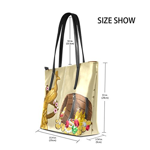 Peacock Women BENNIGIRY Tote Handbag Pattern Top Gold Handle Large Shoulder Bags 8dgRrd