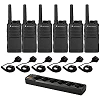 6 Motorola RMU2040 Two-Way Radios 6 Speaker Mics + 6-Bank Charger