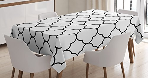 Lunarable Moroccan Trellis Tablecloth, Traditional Monochrome Quatrefoil Pattern Oriental Middle East Design, Dining Room Kitchen Rectangular Table Cover, 60 W X 84 L inches, Black and White