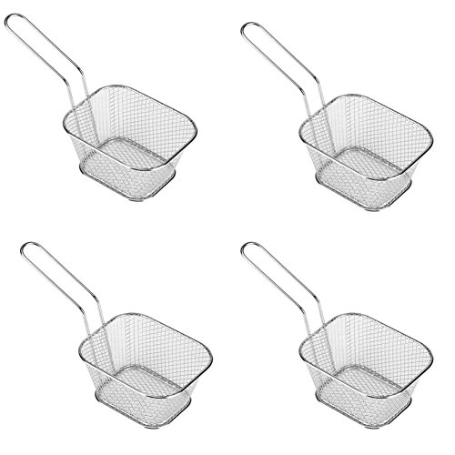 Fryer Basket for Chip 4 Pcs Stainless Steel Square Fries Basket For Fried Food, Chip Frying Serving Basket For Chips, Shrimps, Onion Rings, Kitchen Restaurant Cooking Tools