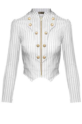 Blazer Military Jacket - Women's Military Crop Stretch Gold Zip up Blazer Jacket KJK1125X 10909 WHITEBLACK 3X