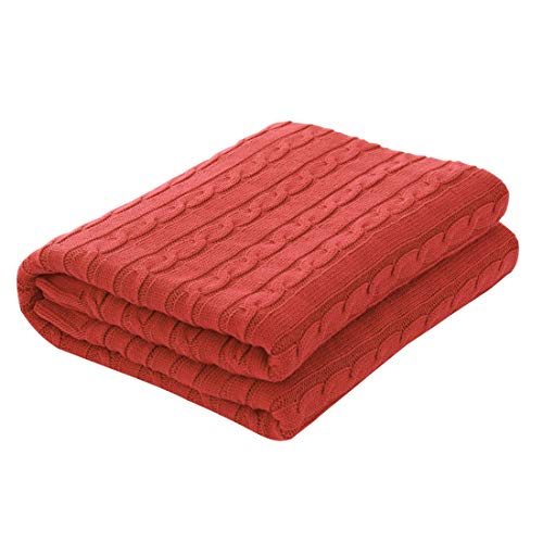 uxcell Cotton Cable Knit Throw Blanket Super Soft Throw Couch Covers Knitted Blankets for Sofa Bed, Orange Red Full(70