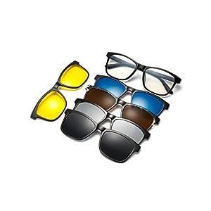 WELUK Magnetic 5Pcs Polarized Clip-on Sunglasses Plastic Frame for Night Driving