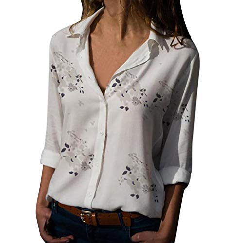 - Women Blouses for Work GREFER Plus Size V-Neck Print Pullover Button-Down Shirts Lapel Tops White