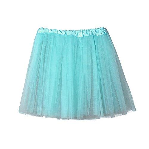 (Short Tutu Skirts for Women Tulle High Waist Solid Color Ballet Bubble Skirt (Free Size, Light Blue))