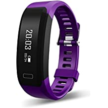 Tecomax Fitness Smart Bracelet with Heart Rate Monitor Sleep Monitor Pedometer Calorie Burned Activity Tracker for Android & IOS Phones Purple