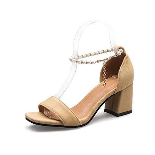 amp;x Apricot Peep Toe Bloque De Sandalias Mujer Qin Tacones d18Xdpq