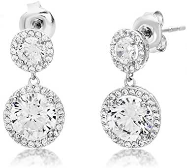 SALE 18K White Gold Over Sterling Silver Cubic Zirconia Round Halo Drop Post Earrings